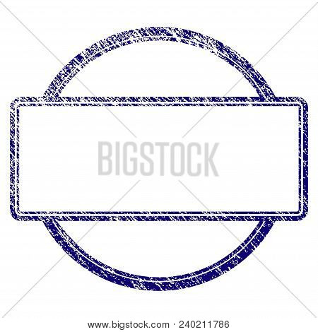 Double Round And Rectangle Frame Grunge Textured Template. Vector Draft Element With Grainy Design A
