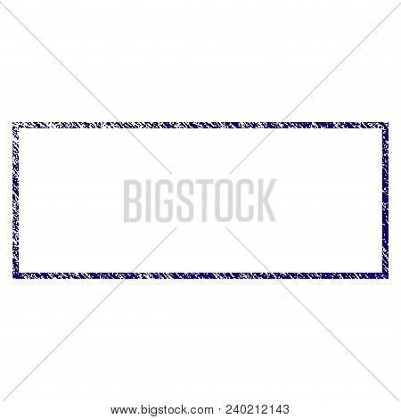 Rectangle Frame Grunge Textured Template. Vector Draft Element With Grainy Design And Corroded Textu