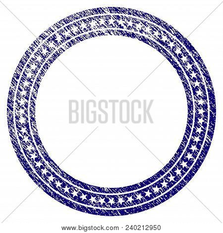 Star Circle Frame Grunge Textured Template. Vector Draft Element With Grainy Design And Corroded Tex