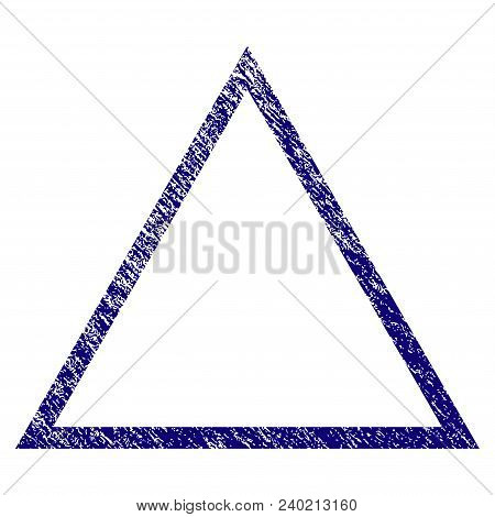 Triangle Frame Grunge Textured Template. Vector Draft Element With Grainy Design And Corroded Textur