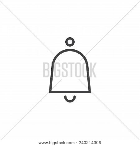 Notification Bell Outline Icon. Linear Style Sign For Mobile Concept And Web Design. Door Ringing Be