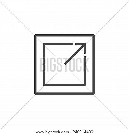 Export Outline Icon. Linear Style Sign For Mobile Concept And Web Design. Expand Maximize Simple Lin