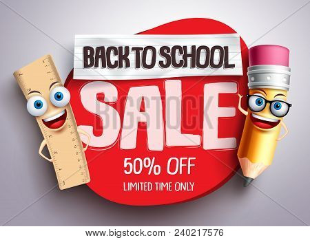 Back To School Sale Vector Banner With Funny School Characters And Red Sale Text In White Background
