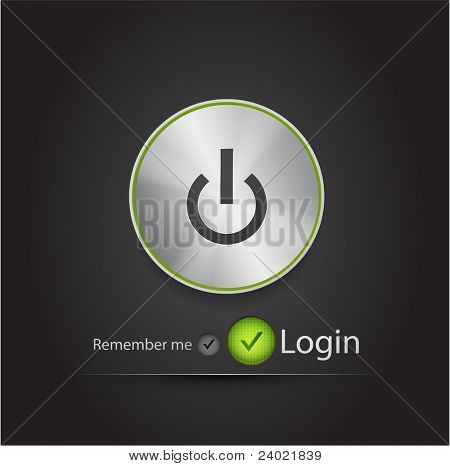 Vector login page with tune power button