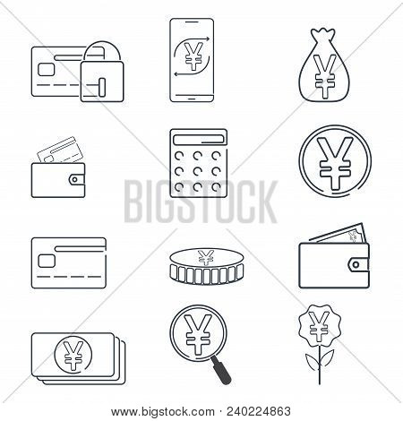 Set Of Finance And Yen Or Yuan Cnr Currency Icon. Simple Line Illustration
