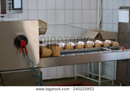 A Production Line For The Production Of Bread. Bread On A Conveyor Belt