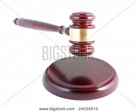 Wooden Gavel On White Background