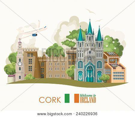 Cork City. Ireland Vector Illustration With Landmarks, Irish Castle, Green Fields.
