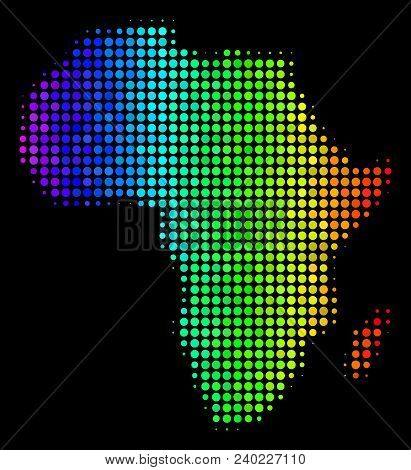 Pixel Africa Map. Halftone Geographical Plan Drawn With Spectrum Color Tones With Horizontal Gradien