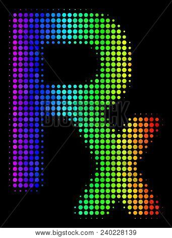Dotted Colorful Halftone Rx Symbol Icon Drawn With Spectrum Color Hues With Horizontal Gradient On A