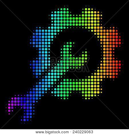 Dotted impressive halftone setup tools icon drawn with spectral color tones with horizontal gradient on a black background. Colored vector collage of setup tools symbol organized from circle points. poster