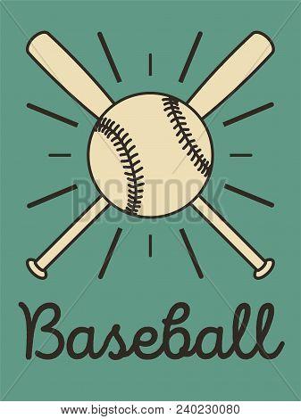 Baseball Typographical Vintage Style Poster. Baseball Label, Badge, Icon. Retro Vector Illustration.