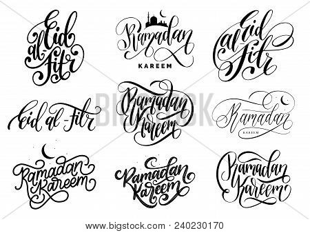 Vector Set Of Hand Lettering With Phrases Ramadan Kareem And Eid Al-fitr Translated In English Feast