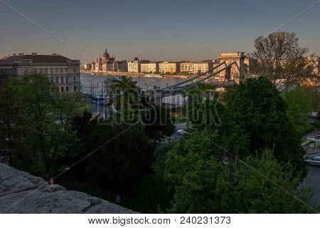 Budapest Cityscape With Parliament Building, Chain Bridge And Historical Downtown During  Summer Sun