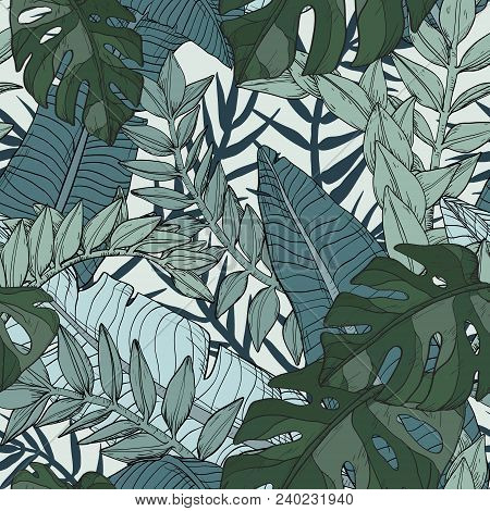 Floral Seamless Pattern With Tropical Plants, Vector Illustration