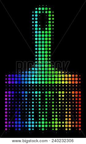 Pixel Bright Halftone Wide Brush Icon In Spectral Color Hues With Horizontal Gradient On A Black Bac