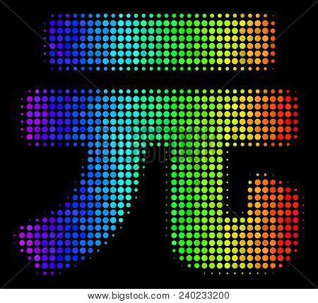 Dot Bright Halftone Yuan Renminbi Icon Using Spectral Color Tinges With Horizontal Gradient On A Bla
