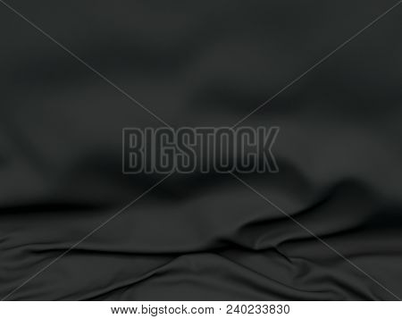 Beautiful Black Satin For Drapery Abstract Background. Dark Silk Fabric. 3d Rendering.