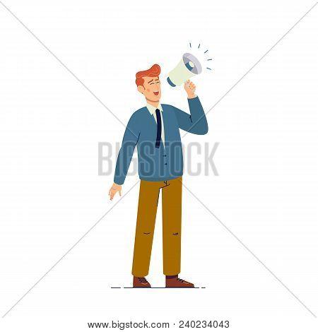 Handsome Businessman Shouting Through Megaphone.flat Vector Illustration