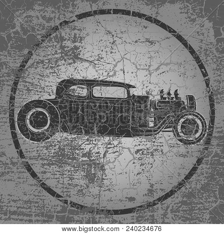 Hot Rod Grunge Vector Background. Retro Car Background. Vintage Background. Business Background. Abs