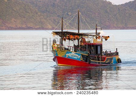 Koh Chang, Thailand - November 02, 2013 : Colorful Tourist Boat Returns From A Cruise To The Island