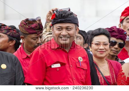Gianyar, Bali, Indonesia - January 08, 2018 : Agus Mahayastra Leads A Indonesian Democratic Party Of