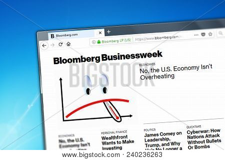 Novosibirsk, Russia - May 12, 2018 - Homepage Of Bloomberg Website On The Display Of Pc, Url - Bloom