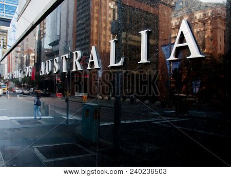 Sydney, Australia - May 5, 2018: Reserve Bank Of Australia Building Name On Black Stone Wall In The