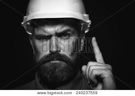 Portrait Bearded Man With Protect Helmet Wearing. Business, Building, Industry, Technology - Builder