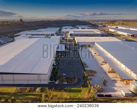 Exterior View Of A Modern Industrial Warehouse In A Business Park