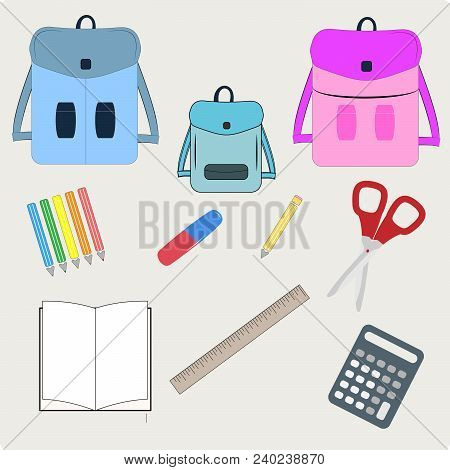 Vector Illustration Of Back To School Supplies. School Bags And Supplies, Learning Equipment And Dif
