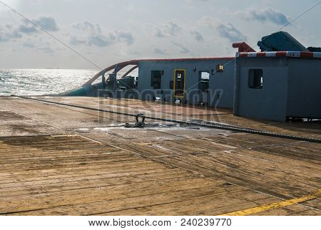 Towing Wire On Deck Of Anchor-handling Tug Supply Ahts Vessel During Dynamic Positioning Dp Operatio
