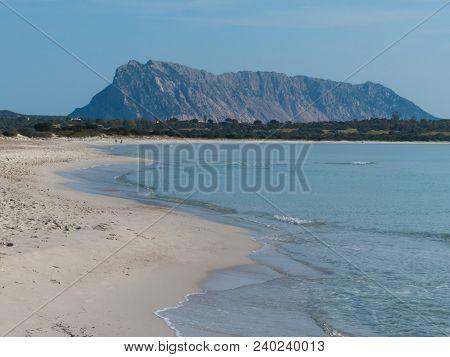La Cinta Beach, Sardinia, Italy Sunny White Beach With View Of Island