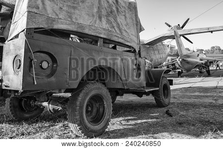 Military Airfield, Fighting, War, Battleground, Car, Black And White
