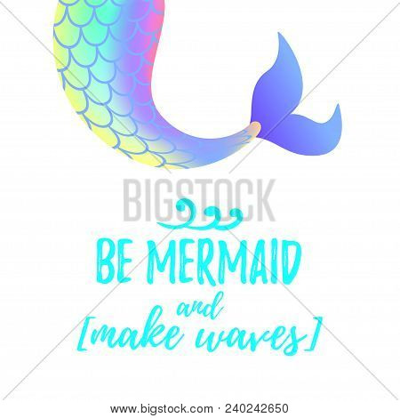 Vector Cartoon Style Illustration Of Cute Mermaid Tail. Mermay Concept. Mythical Marine Princess.