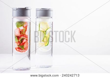 Herbs And Fruits Flavored Infused Water. Summer Refreshing Drink. Health Care, Fitness, Healthy Nutr