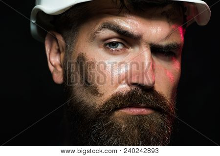 Portrait Of Mechanical Worker. Close Up Engineers Working. Portrait Of Handsome Engineer. Close Up M
