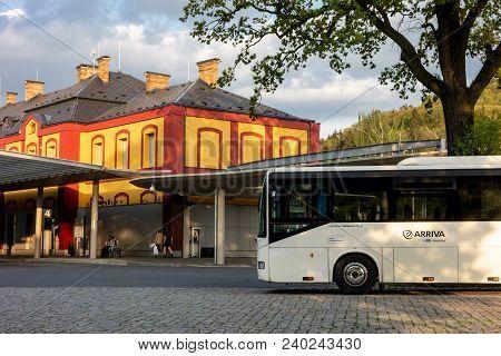 Nachod, Czech Republic, April 28, 2018: Iveco/irisbus Crossway White Bus Parked In Front Of Moderniz