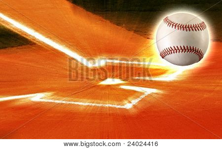 Baseball ball flying out of home plate ball field. poster