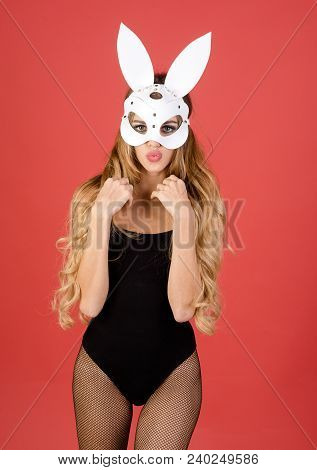 Beautiful Seductive Woman In Sexy Lingerie And In Bunny Mask. Hot And Sexy Fashion Portrait Girl In