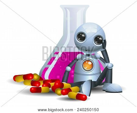 Illustration Of A Happy Droid Little Robot Consuming Pills On Isolated White Background
