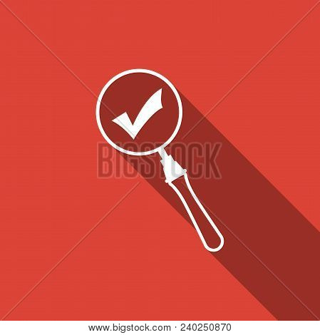 Magnifying Glass And Check Mark Icon Isolated With Long Shadow. Magnifying Glass And Approved, Confi