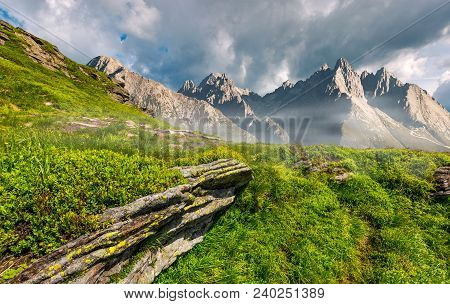 Composite Image Of Rocky Peaks And Rocks On Hillside In High Tatras. Beautiful Mountain Landscape In