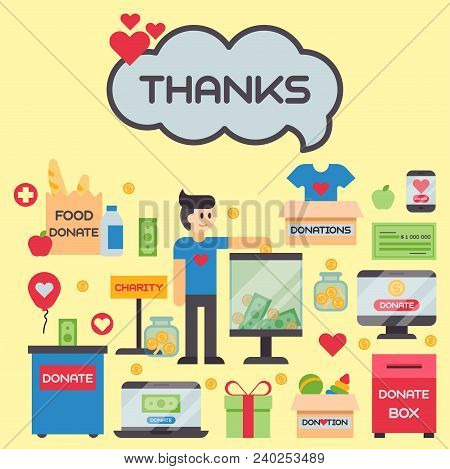Donate Money Box Set Symbols Help Philanthropy Donation Contribution Charity Philanthropy Humanity S