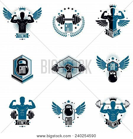 Logotypes for heavyweight gym or fitness sport gymnasium, vintage style vector emblems set. poster