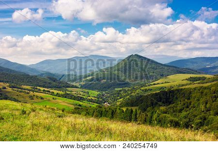 Abranka Village In The Valley Of Carpathian Mountains, Ukraine. Lovely Countryside Scenery In Early