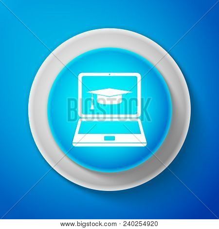 White Graduation Cap And Laptop Icon Isolated On Blue Background. Online Learning Or E-learning Conc