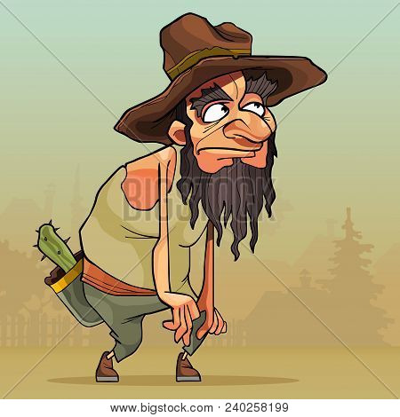 Cartoon Funny Man With Beard In An Old Hat Sneaks Through The Village