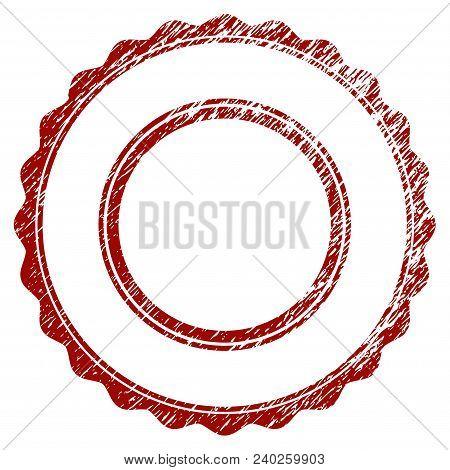 Double Rosette Circular Frame Distress Textured Template. Vector Draft Element With Grainy Design An