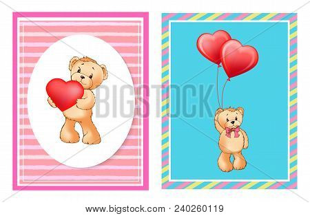 Adorable Bears With Helium Balloons In Heart Shape Cartoon Vector Illustrations On Valentines Day Fe